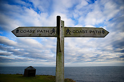 Coastal path sign, Isle of Portland, Dorset, England, UK