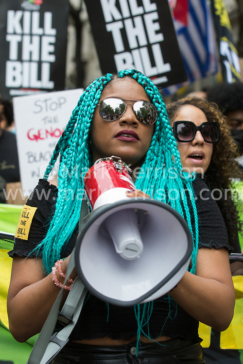 Chantelle Lunt, founder of Merseyside BLM Alliance, takes part in a Kill The Bill National Day of Action in protest against the Police, Crime, Sentencing and Courts (PCSC) Bill 2021 on 29th May 2021 in London, United Kingdom. The PCSC Bill would grant the police a range of new discretionary powers to shut down protests, including the ability to impose conditions on any protest deemed to be disruptive to the local community, wider stop and search powers and sentences of up to 10 years in prison for damaging memorials.