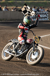 Suicide Machine's Shaun Guardado with the checkered flag at the Okie Dokie Vintage Races put on by Go Takamine's Brat Style at West Point Off-Road Village, Kawagoe, Saitama, Japan. Tuesday, December 4, 2018. Photography ©2018 Michael Lichter.