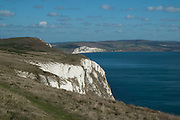 View out across Tennyson Down to the English Channel from Isle Of Wight, England, United Kingdom.