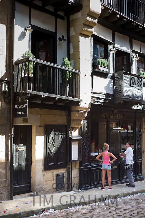 Traditional Restaurant Sebastian in old town Hondarribia, in Gipuzkoa, Basque Country, Spain