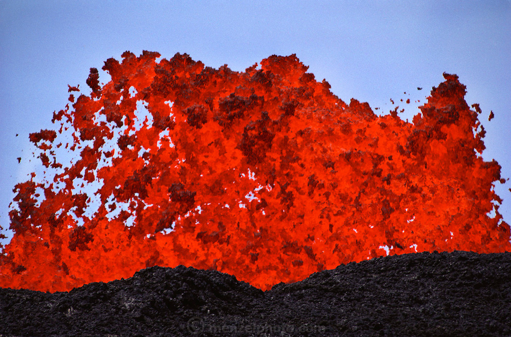 Molten lava boiling up from a volcanic eruption of Mauna Loa, on Hawaii's Big Island. USA.