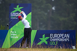 France's Manon Molle tees off at the 8th hole during her semi final match with Great Britain 3 this morning during day eleven of the 2018 European Championships at Gleneagles PGA Centenary Course. PRESS ASSOCIATION Photo. Picture date: Sunday August 12, 2018. See PA story GOLF European. Photo credit should read: Kenny Smith/PA Wire. RESTRICTIONS: Editorial use only, no commercial use without prior permission