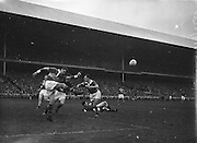 All Ireland Senior Football Championship Final, Kerry v Down, 25.09.1960, 09.25.1960, 25th September 1960, Down 2-10 Kerry 0-8,..Kerry goalie J Cullotty kicking clear P.Hagan Down Full forward and N Sheehy Kerry Full back also in picture, ..Referee J Dowling (Offaly),.Captain K Mussen,.