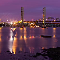 The Sarah Long Bridge and I-95 bridge over the Piscataqua River as seen from Kittery, Maine.