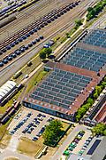Nederland, Utrecht, Amersfoort, 29-05-2019; voormalige Wagenwerkplaats van de spoorwegen, industrieel erfgoed, nu onder andere creatieve broedplaats. Het hoofdgebouw huisvest onder andere kantoor en atelier van H+N+S Landschapsarchitecten.<br /> Former Railroad Wagon Workplace, industrial heritage.<br /> <br /> luchtfoto (toeslag op standard tarieven);<br /> aerial photo (additional fee required);<br /> copyright foto/photo Siebe Swart