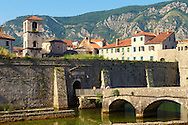 Walls of Kotor with the tower of St Mary's Koledata Church (1221), Montenegro