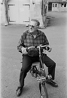 Murray Sayle, Australian journalist at the 30th anniversary of Moulton Bikes in the presence of Dr Alexander Moulton CBE. September 1992