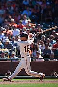 San Francisco Giants second baseman Joe Panik (12) takes a swing against the Arizona Diamondbacks at AT&T Park in San Francisco, Calif., on August 31, 2016. (Stan Olszewski/Special to S.F. Examiner)