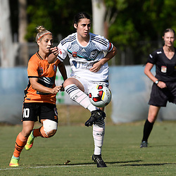BRISBANE, AUSTRALIA - JANUARY 1: Adriana Taranto of the Victory controls the ball during the round 10 Westfield W-League match between the Brisbane Roar and Melbourne Victory at AJ Kelly Park on January 1, 2017 in Brisbane, Australia. (Photo by Patrick Kearney/Brisbane Roar)
