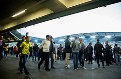 Spectators prior to the football match between WAC Wolfsberg (AUT) and  Borussia Dortmund (GER) in First leg of Third qualifying round of UEFA Europa League 2015/16, on July 30, 2015 in Wörthersee Stadion, Klagenfurt, Austria. Photo by Vid Ponikvar / Sportida