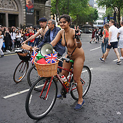 London,England,UK : 11th June 2016 : A groups of people participate for the London Naked Bike Ride 2016<br />  at Granary Square, King Cross ride through Centre London. Photo by See Li