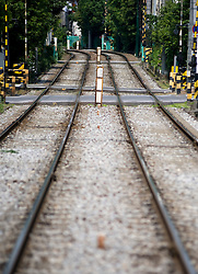 Railway tracks of Arakawa narrow gauge urban railway line in central Tokyo Japan
