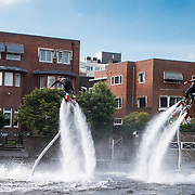 NLD/Amsterdam/20140612 - Hilton Haringparty 2014, Flyboarders