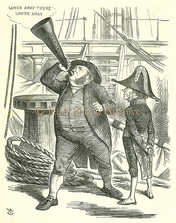The Officious Passenger':  Reform of Parliament - extension of the franchise.  The Prime Minister, Lord John Russell, asking John Bright to stop trumpeting the Reform Bill. Russell defeated by Parliament on the Reform Bill in May 1866.    John Tenniel cartoon from 'Punch', London, 20 January 1866.