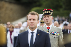 French Army Chief of Staff General Francois Lecointre and French president Emmanuel Macron attend a ceremony commemorating General Charles De Gaulle's attends a ceremony commemorating General Charles De Gaulle's June 1940 appeal for French resistance against Nazi Germany, at the Mont Valerien National Memorial in Suresnes on the outskirts of Paris on June 18, 2018. Photo by Eliot Blondet/ABACAPRESS.COM