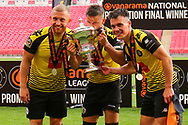 Harrogate Town players celebrate after the Vanarama National League Promotion Final match between Harrogate Town and Notts County at Wembley Stadium, London, England on 2 August 2020.