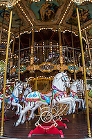 A carousel, merry-go-round, or is a roundabout is a ride made of a rotating platform with ridersmounted on wooden horses usually that are moved up and down with gears to simulate galloping,