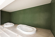 Jacuzzi in a private area with green walls. Nobody inside