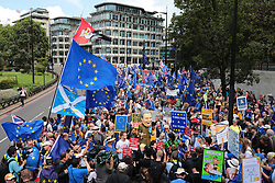 © Licensed to London News Pictures. 20/07/2019. London, UK. Anti-Brexit protesters join the March for Change in London. Photo credit: Rob Pinney/LNP
