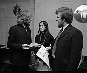 Dublin Arts Festival, Press Reception.1971..06.01.1971..01.06.1971..6th January 1971..Today saw the launch of the forthcoming Dublin Arts Festival.The press conference was held in The Gresham Hotel.O'Connell Street,Dublin...Pictured at the press conference to launch The Dublin Arts Festival were,(L-R), Mr Duncan Stewart, Publicity Officer, Ms Rosemary Mac Callion,Organising Committee and Mr Cormac O Cuilleanain, Director.