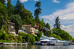 United States, Washington, Bellevue. Houses on the Lake Washington waterfront.