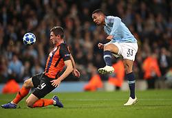 Shakhtar Donetsk's Serhiy Kryvtsov (left) blocks a shot from Manchester City's Gabriel Jesus