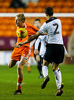 Blackpool's Ewan Bange has his short pulled by Derby County's Callum Minkley<br /> <br /> Photographer Alex Dodd/CameraSport<br /> <br /> The FA Youth Cup Third Round - Blackpool U18 v Derby County U18 - Tuesday 4th December 2018 - Bloomfield Road - Blackpool<br />  <br /> World Copyright © 2018 CameraSport. All rights reserved. 43 Linden Ave. Countesthorpe. Leicester. England. LE8 5PG - Tel: +44 (0) 116 277 4147 - admin@camerasport.com - www.camerasport.com