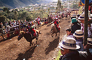 Dressed in special holiday clothing for the All Saints Day celebration in Todos Santo de Cuchumatan, Guatemala, a mob of men on horseback race back and forth down the main road into town between throngs of onlookers, stopping at each end of the course to take a pull of hard liquor before galloping at a breakneck pace to the other end. This exciting diversion goes on for hours as new riders enter the festivities and other riders fall off or just drunkenly give up. Hungry Planet: What the World Eats (p. 158).