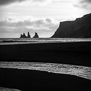 Vik seascape, black and white