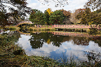 "Soribashi and Hirabashi Bridges at Shomyoji - Shomyoji was built by Sanetoki Hojo during the Kamakura period, and was made the Hojo family temple of the Kanazawa area. The Jodo style garden with Ajiike Pond in front of the main temple is its most unique feature when considering the arched bridge. The temple's bell was portrayed in the woodblock print ""Shomyo-no-Bansho,"" one of eight prints depicting views of Kanazawa by Hiroshige Utagawa."