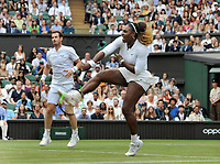 Tennis - 2019 Wimbledon Championships - Week One, Saturday (Day Six)<br /> <br /> Mixed Doubles, 1st Round <br /> Andy Murray (GBR) and Serena Williams (USA) v Andreas Mies (GER) v Alexa Guarachi (CHI)<br /> <br /> Serena Williams (USA) smashes at the net  on Centre Court <br /> <br /> COLORSPORT/ANDREW COWIE