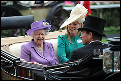 HM The Queen, Autumn Phillips and Peter Phillips arrive for  Ladies Day at Royal Ascot 2013 Ascot, United Kingdom,<br /> Thursday, 20th June 2013<br /> Picture by Andrew Parsons / i-Images