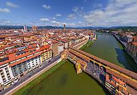 Aerial view of medieval bridge Vecchio, Florence, Italy