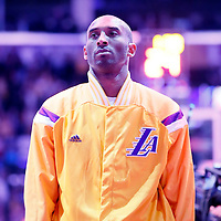13 January 2014: Los Angeles Lakers guard Kobe Bryant (24) stands during the national anthem prior to the Miami Heat 78-75 victory over the Los Angeles Lakers, at the Staples Center, Los Angeles, California, USA.