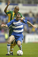 Photo Aidan Ellis, Digitalsport<br /> NORWAY ONLY<br /> <br /> Reading v West Bromwich Albion.<br /> Nationwide Divison 1.<br /> 01/05/2004.<br /> Reading's Andy Hughes holds of West Brom's James Chambers