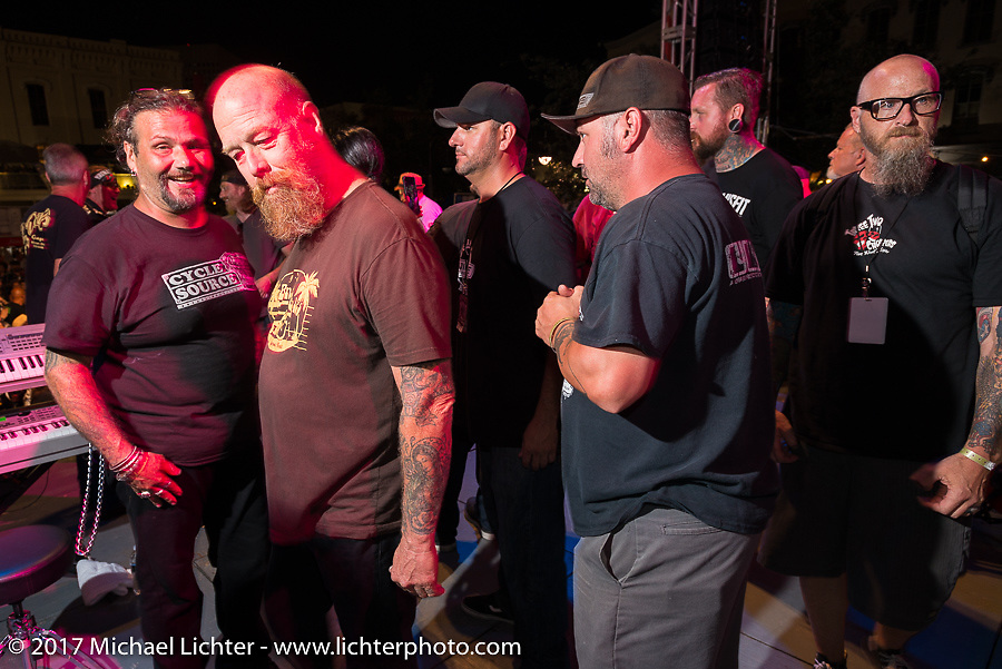 Invited custom builders from the In Motion show are introduced on the main downtown stage during the Lone Star Rally. Galveston, TX. USA. Saturday November 4, 2017. Photography ©2017 Michael Lichter.