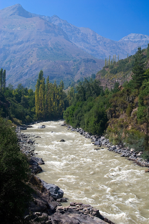Maipo River flowing through Chile's Maipo Canyon.
