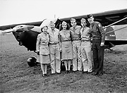 """1207-03A. """"Civil Air Patrol. Cadets at Beaverton. December 9, 1945"""" (Bernard's airport, Beaverton Oregon. Located at todays SW Cedar Hills Blvd. & SW Jenkins rd. Site now occupied by Cedar Hills Crossing shopping mall, formerly known as Bernard's Beaverton mall. Winco & other businesses. Identification by Don Nelson 2007) Airplane number NC58604"""