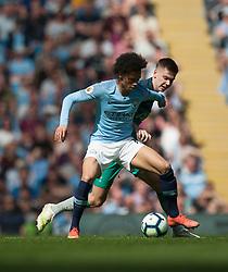 Leroy Sane of Manchester City (L) in action - Mandatory by-line: Jack Phillips/JMP - 20/04/2019 - FOOTBALL - Etihad Stadium - Manchester, England - Manchester City v Tottenham Hotspur - English Premier League