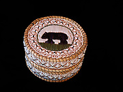 Ojibwa (Chippewa) birchbark and sweetgrass basket with black bear made with porcupine quills, Great Lakes region.