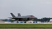 F-35 Lightning II taking off for USAF Heritage Flight at Airventure 2017.