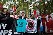 Food service industry workers strike for higher wages on October 4th 2018 in Leicester Square, London, United Kingdom. Day of action by workers from TGI Fridays, McDonalds; Deliveroo and Wetherspoons, supported by TUC and Labour Party, demanding better conditions for the hospitality sector. Demonstrators with Frances O'Grady,3rd on left General Secretary of TUC Trades Union Congress