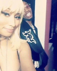 """Nicki Minaj releases a photo on Instagram with the following caption: """"Quavo \u0026 The Queen \ud83d\ude09Issa video shoot \ud83c\udfac\ud83c\udfa5\ud83d\udd25\ud83d\udd25\ud83d\udd25\ud83d\udd25\ud83d\udd25 @quavohuncho"""". Photo Credit: Instagram *** No USA Distribution *** For Editorial Use Only *** Not to be Published in Books or Photo Books ***  Please note: Fees charged by the agency are for the agency's services only, and do not, nor are they intended to, convey to the user any ownership of Copyright or License in the material. The agency does not claim any ownership including but not limited to Copyright or License in the attached material. By publishing this material you expressly agree to indemnify and to hold the agency and its directors, shareholders and employees harmless from any loss, claims, damages, demands, expenses (including legal fees), or any causes of action or allegation against the agency arising out of or connected in any way with publication of the material."""