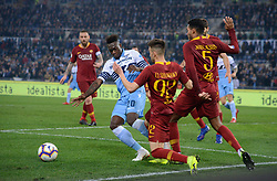 March 2, 2019 - Rome, Lazio, Italy - Felipe Caicedo of SS Lazio vies Stephan El Shaarawy and Juan Jesus of AS Roma during the Italian Serie A football match between S.S. Lazio and A.S Roma at the Olympic Stadium in Rome, on march 02, 2019. (Credit Image: © Silvia Lore/NurPhoto via ZUMA Press)