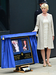 Michael Winner public memorial.  <br /> Geraldine Winner during the Memorial.<br /> Memorial takes place at the National Police Memorial. The film director and food critic helped establish, following his death on January 23 2013. <br /> Geraldine Winner, Sir Michael Parkinson, Sir Michael Caine, Sir Roger Moore, Cilla Black, Carol Vorderman, Sir Terence Conran, give eulogies, <br /> London, United Kingdom<br /> Sunday, 23rd June 2013<br /> Picture by Nils Jorgensen / i-Images