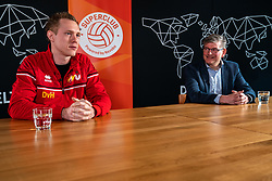 Daan van Haarlem, professional vv Utrecht and Martin Reesink club president Apollo 8 during the talk show of the Dutch volleyball association. The association wants to start a professionalization process with which they want to strengthen recreational sport in the coming years on March 8, 2021 in Utrecht