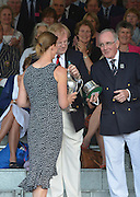 Henley, GREAT BRITAIN. [The Princess Royal Challenge Cup (W1X)]  Isolda PENNEY CAN. collect's Her Prize from, left, The Rt. Hon. The Lord Mayor of London. Alderman David WOTTON and right Regatta Chairman, Mike SWEENY   at 2012 Henley Royal Regatta...Sunday  18:02:07  01/07/2012. [Mandatory Credit, Peter Spurrier/Intersport-images]...Rowing Courses, Henley Reach, Henley, ENGLAND . HRR.