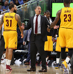 March 11, 2017 - Orlando, FL, USA - Cleveland Cavaliers head coach Tyronn Lue on the sidelines against the Orlando Magic at the Amway Center in Orlando, Fla., on Saturday, March 11, 2017. The Cavs won, 116-104. (Credit Image: © Stephen M. Dowell/TNS via ZUMA Wire)