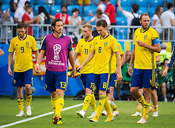 July 7, 2018 - Samara, Russia - 180707 Marcus Berg, Gustav Svensson, John Guidetti, Albin Ekdal and Andreas Granqvist looks dejected after loosing the FIFA World Cup quarter final match between Sweden and England on July 7, 2018 in Samara..Photo: Petter Arvidson / BILDBYRÃ…N / kod PA / 92083 (Credit Image: © Petter Arvidson/Bildbyran via ZUMA Press)